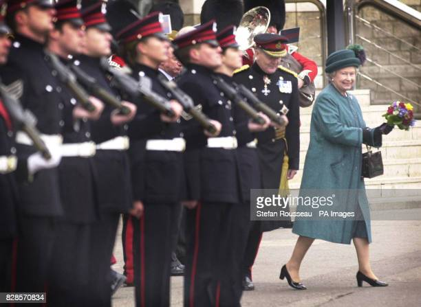 The Queen inspects a Guard of Honour at Artillery House in London when she visited the home of The Honourable Artillery Company to celebrate her 50...