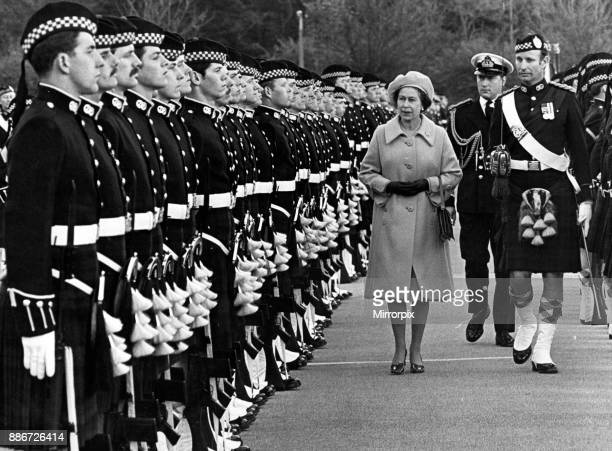 The Queen inspects the 1st Battalion and Argyll Sutherland Highlanders at Catterick Garrison 9th November 1978