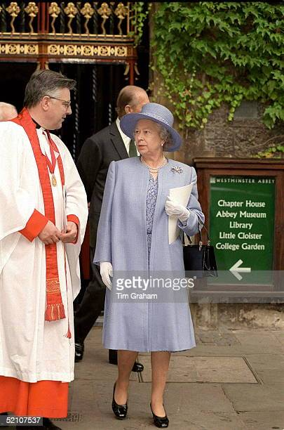 The Queen Is Greeted By The Dean Of Westminster Abbey, Dr Wesley Carr, At The Unveiling Of The Statues Of Twentieth Century Martyrs At Westminster...