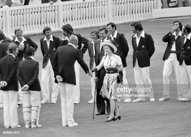HM the Queen is introduced to England captain Tony Greig by MCC secretary Jack Bailey and Gubby Allen during the 2nd Test match between England and...