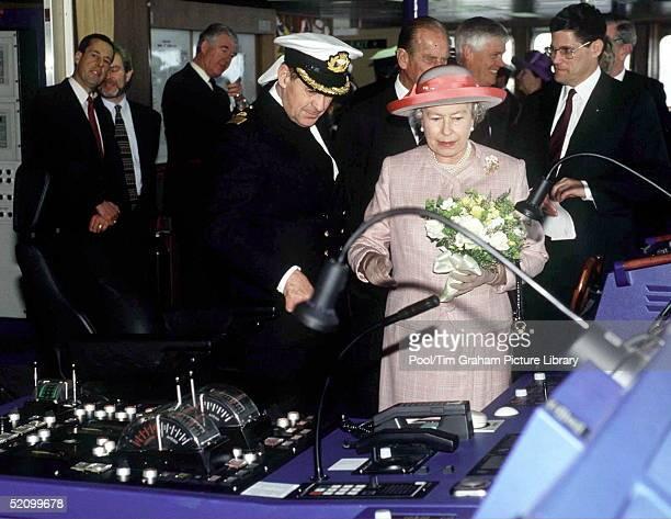 The Queen Launching The Po Cruise Ship Oriana At Southampton Docks