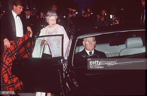 The Queen Leaving Prince Edward's 30th Birthday Celebrations At The Savoy Hotel She Is Getting Into An Official Car Where A Tartan Blanket Has Been...