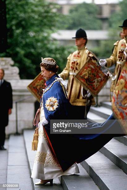 The Queen Leaving St Paul's Cathedral After The Order Of Stmichael And St George Service