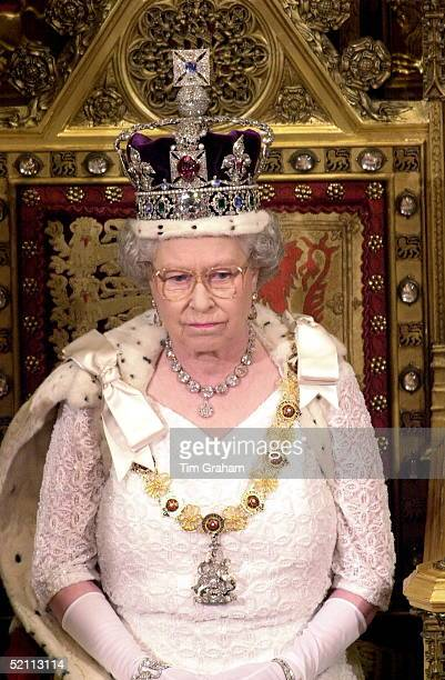 The Queen Looking Serious As She Prepares To Read Her Speech To The House Of Lords At The State Opening Of Parliament In London