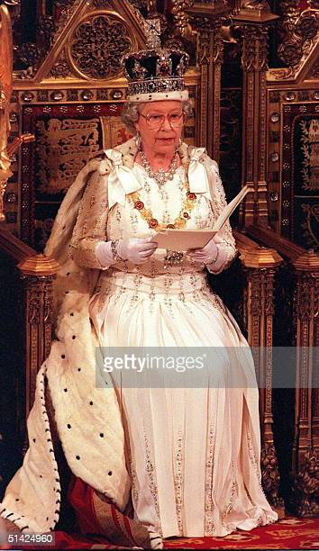 The Queen makes her speech in the House of Lords at the State Opening of Parliament 14 May 1997