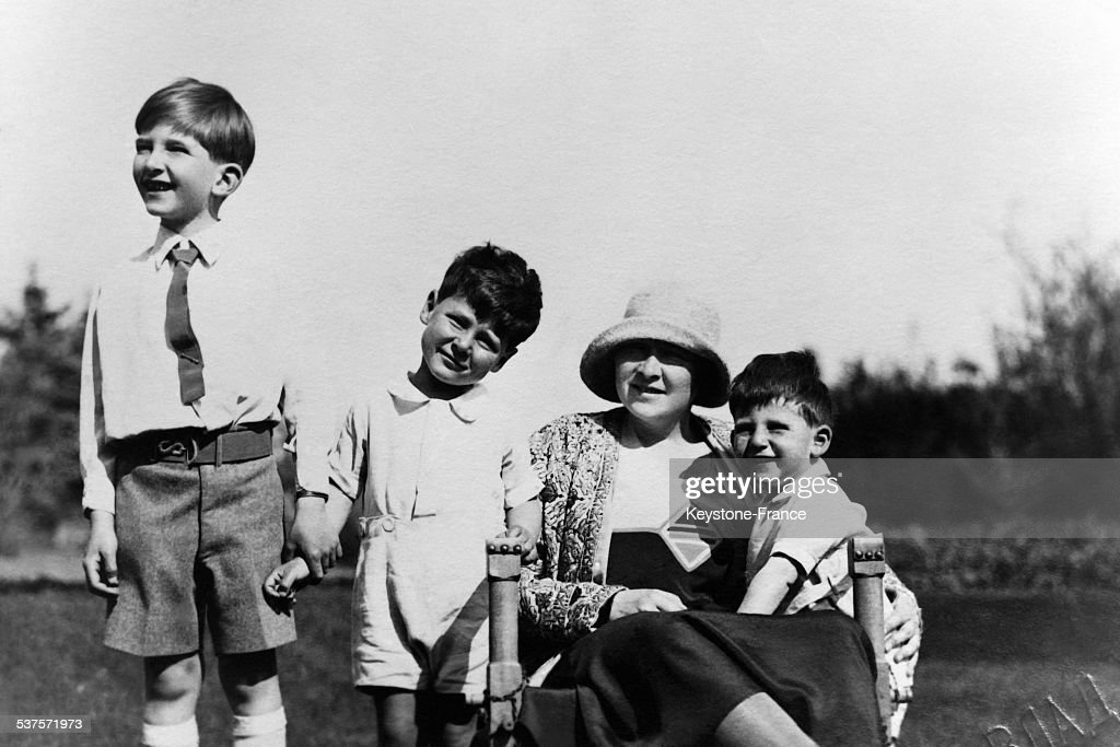 The Queen Marie of Yugoslavia and her three son: Prince Peter, Prince Tomislav and Prince Andre on May 18, 1931 in Belgrade, Serbia.