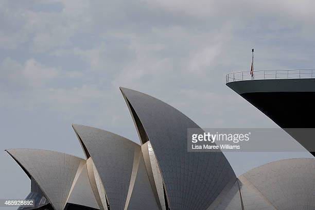 The Queen Mary 2 docks at the Overseas Passenger Terminal across from the Sydney Opera House at Circular Quay on March 12 2015 in Sydney Australia...