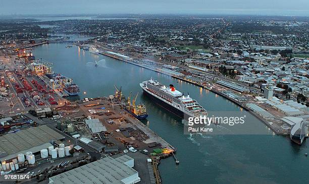 The Queen Mary 2 enters Fremantle Harbour on March 14 2010 in Fremantle Australia The QM 2 the largest passenger ship ever to visit Fremantle is...