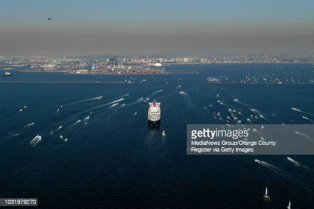 2/23/06 The Queen Mary 2 heads towards Long Beach Calif Harbor to rendezvous with her namesake The Queen Mary on Thursday February 23 2006