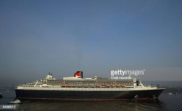 The Queen Mary 2 the world's largest cruise ship pulls into port April 22 2004 in New York City The new flagship of the Cunard line docked in...
