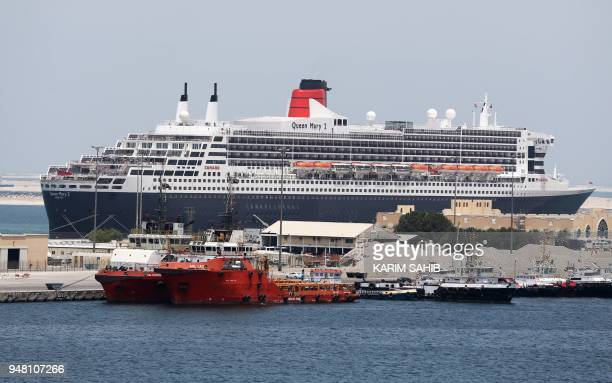 The Queen Mary II luxury cruise liner also known as the QE2 is seen docked at Port Rashid in Dubai where it will be moored permanently as a newly...
