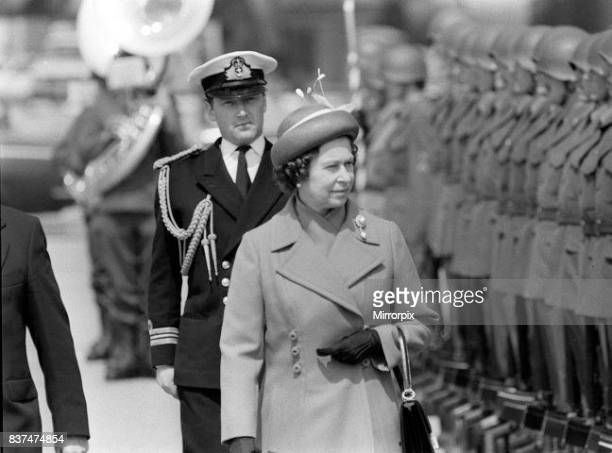 The Queen May 1980 on a state visit to Switzerland, she inspects troops at the Berne Square.