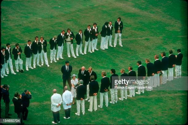 The Queen meets David Steele, accompanied by Tony Greig, Gubby Allen and Jack Bailey, England v Australia, 2nd Test, Lord's, July 1975.