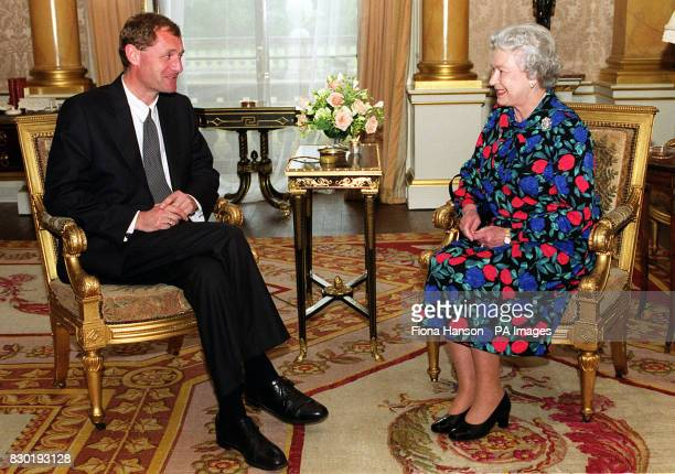 The Queen meets for the first time the newly appointed Poet Laureate Australian born Andrew Motion at Buckingham Palace London