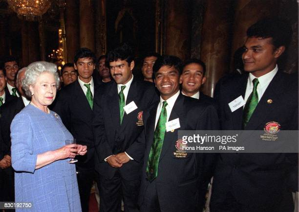 The Queen meets the Bangladesh cricket team including Shafiuddin Ahmed Aminul Islam and Akram Khan during a reception at Buckingham Palace in London...