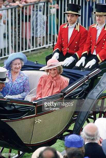 The Queen Mother And Diana Princess Of Wales At Royal Ascot Races. The Princess Is Wearing An Outfit Designed By Fashion Designer Jan Van Velden.