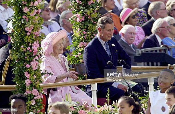 The Queen Mother And Her Eldest Grandchild Prince Charles Laughing During The Parade To Celebrate The 100th Birthday Of The Queen Mother Horseguards...