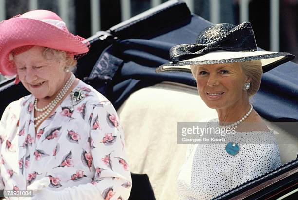 The Queen Mother and Katharine Duchess of Kent arrive at Royal Ascot in an open carriage on June 21 1989 in Ascot England