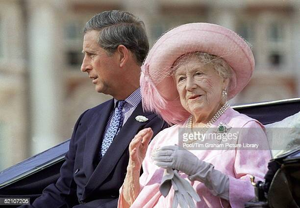 The Queen Mother And Prince Charles Arriving For The Queen Mother's 100th Birthday Pageant At Horseguards Parade In London