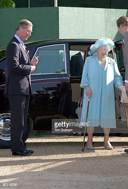 The Queen Mother And Prince Charles Getting Out Of Her Official Daimler Car At Chelsea Flower Show In Chelsea London As Part Of The Traditional Royal...