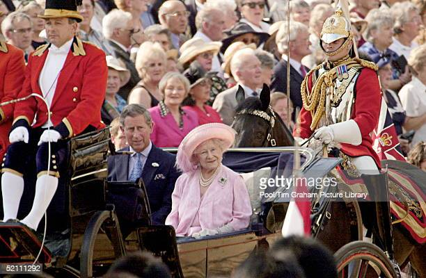 The Queen Mother And Prince Charles Going To The Pageant To Celebrate The 100th Birthday Of The Queen Mother Horseguards London