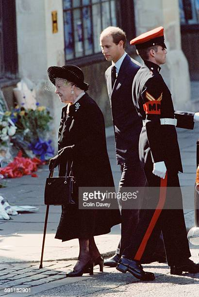 The Queen Mother and Prince Edward attend the funeral of Diana Princess of Wales at Westminster Abbey in London 6th September 1997