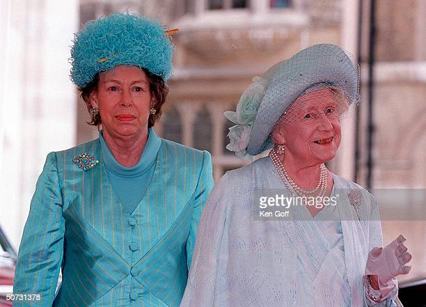 The Queen Mother and Princess Margaret at lunch for the Queen Mother's upcoming 100th birthday at the Guildhall