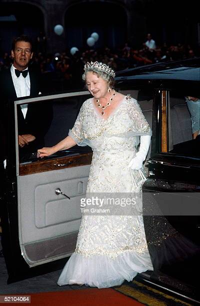 The Queen Mother Arriving, By Car, At The Royal Opera House For Her 8oth Birthday Celebration. She Is Wearing A Full Length Evening Dress In White...