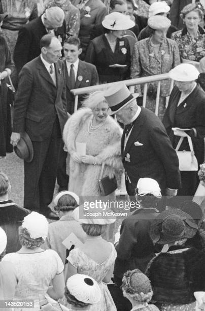 The Queen Mother at Ascot 21st June 1956 Original Publication Picture Post 8531 The Queen's Crowded Week Horses and Chivalry pub 30th June 1956