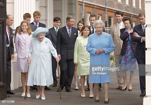 The Queen Mother At Clarence House For Her 101st Birthday With Her Are The Queen Prince Charles Prince Philip Prince William Prince Harry Princess...
