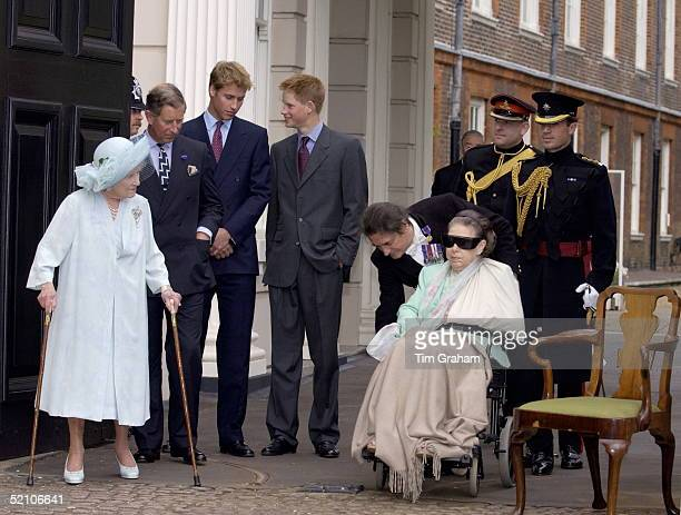 The Queen Mother At Clarence House In London On Her 101st Birthday With Her Are Princess Margaret Who Has Suffered From Several Strokes Prince...
