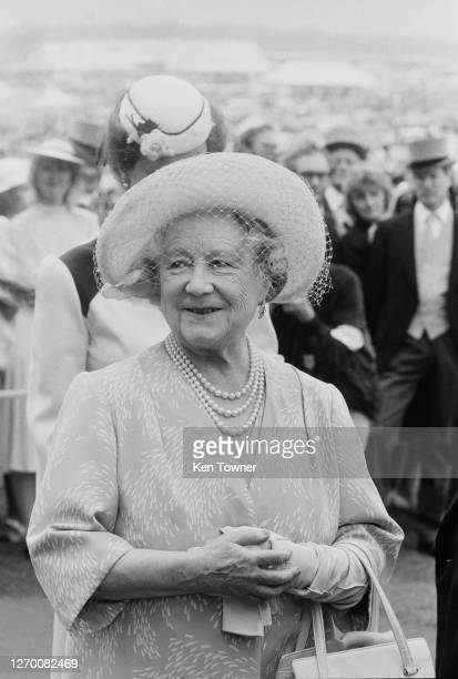 The Queen Mother at Epsom, UK, 5th June 1985.