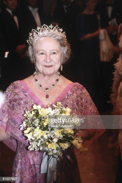 The Queen Mother attending a performance of the Count of Luxembourg on February 22, 1983 at the Sadlers Wells Theatre, in London.