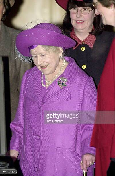 The Queen Mother Attending A Womens' Institute Afternoon Tea At West Newton Village Hall On The Edge Of The Queen's Sandringham Estate