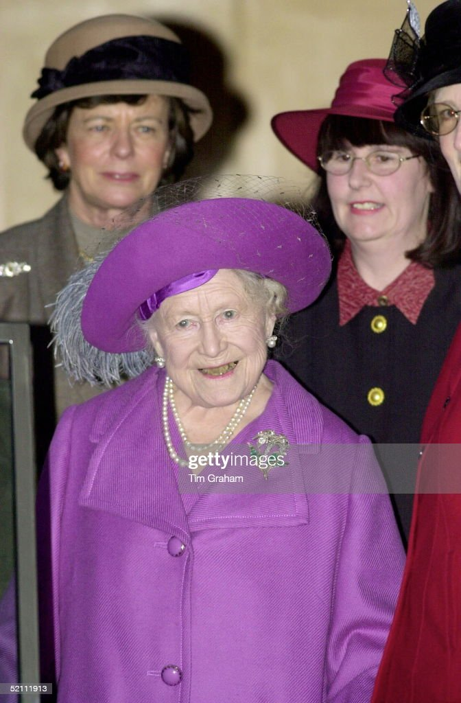 The Queen Mother Attending A Womens' Institute Afternoon Tea At West Newton Village Hall On The Edge Of The Queen's Sandringham Estate.