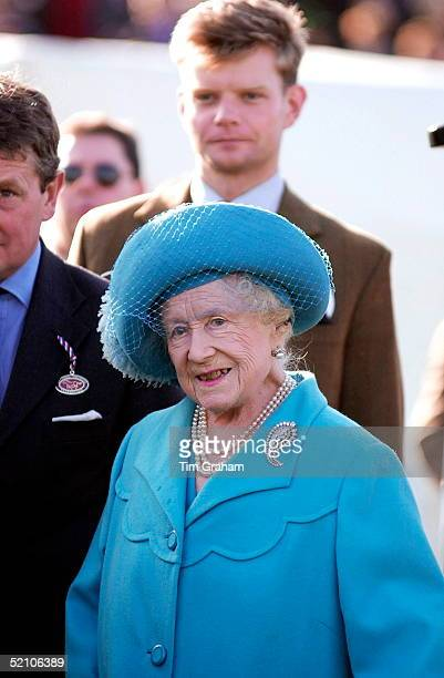 The Queen Mother Attending The First Day Of The National Hunt Festival At Cheltenham Race Course In Gloucestershire