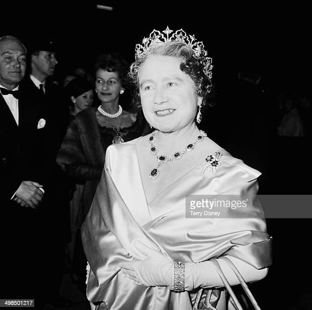 The Queen Mother attends a performance at RADA , to celebrate the drama school's Diamond Jubilee , London, UK, November 1964.