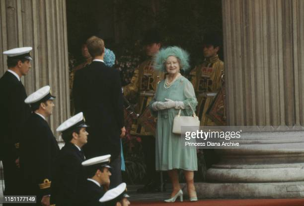 The Queen Mother attends the wedding of Prince Charles and Lady Diana Spencer at St Paul's Cathedral in London, 29th July 1981.