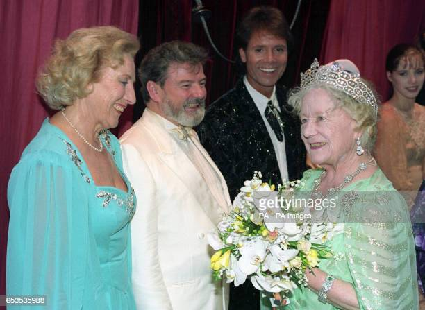 The Queen Mother backstage at the London Palladium with some of the artists who performed for her 90th birthday gala. Dame Vera Lynn, flautist James...