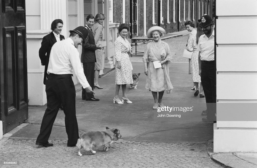 The Queen Mother (1900 - 2002) celebrates her 83rd birthday in London, 4th August 1983. She is accompanied by the Queen, Princess Margaret, Prince Charles and Diana, Princess of Wales.