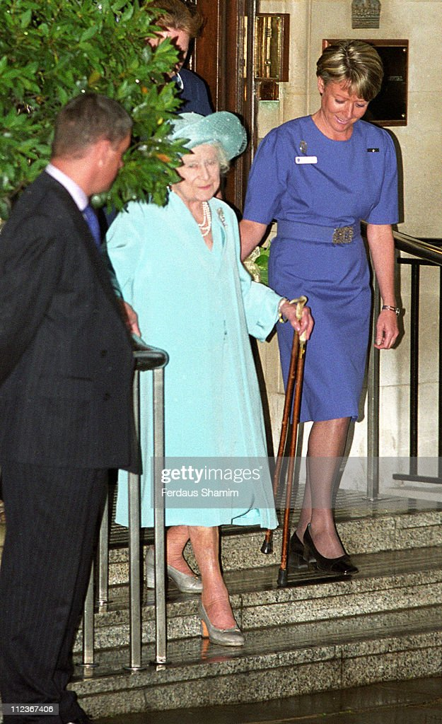 HRH The Queen Mother during HRH The Queen Mother Leaves the Hospital After Hip Operation at King Edward Hospital in London, Great Britain.