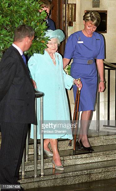 HRH The Queen Mother during HRH The Queen Mother Leaves the Hospital After Hip Operation at King Edward Hospital in London Great Britain