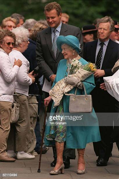 The Queen Mother Greets The Crowd After Unveiling The Evening Standard Memorial In The Precincts Of St Paul's Cathedral London Followed By Her...