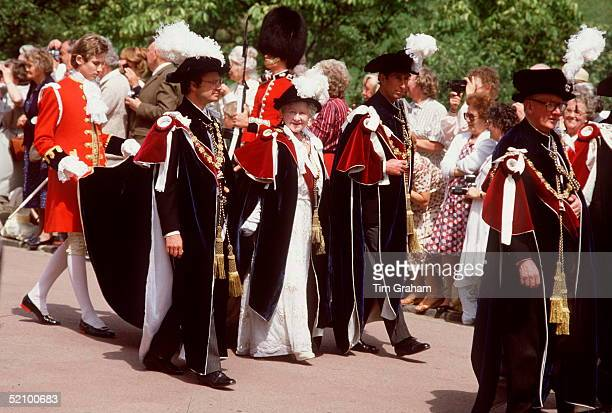 The Queen Mother In The Garter Ceremony Procession At Windsor Castle With On Right Prince Charles And On Left King Carl Gustaf Of Swedenon Their Way...