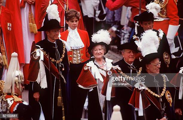 The Queen Mother In The Procession To The Order Of The Garter Service At St George's Chapel Windsor Castle