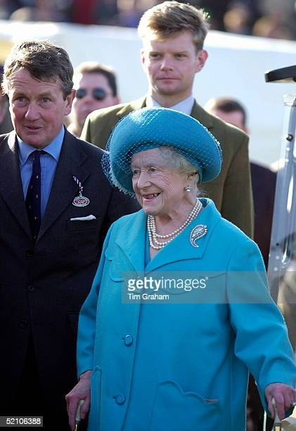 The Queen Mother In The Winners' Enclosure At Cheltenham Racecourse Gloucestershire [ Cheltenham Races ] With Two Walking Sticks To Support Herself
