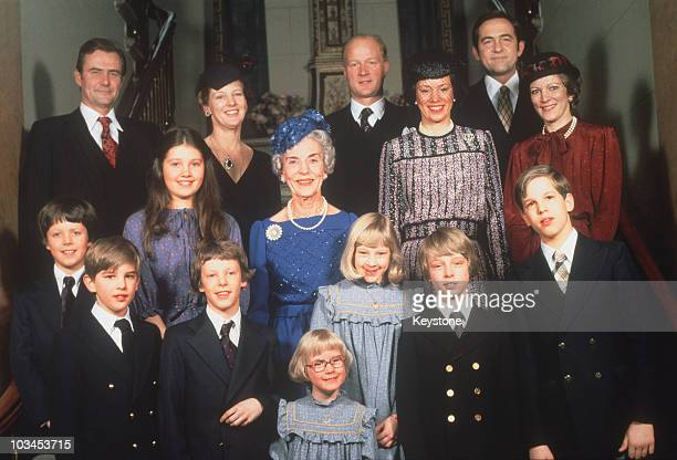 The Queen Mother Ingrid of Denmark surrounded by members of her family to mark her 70th birthday in March 1980