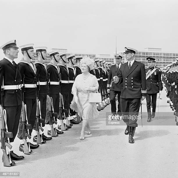 The Queen Mother inspecting Navy personnel at HMS Collingwood a shore establishment of the Royal Navy near Fareham Hampshire 11th June 1968