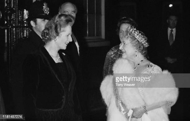 The Queen Mother is greeted by the Prime Minister, Margaret Thatcher , upon her arrival at 10 Downing Street, where the Prime Minister hosted an 80th...