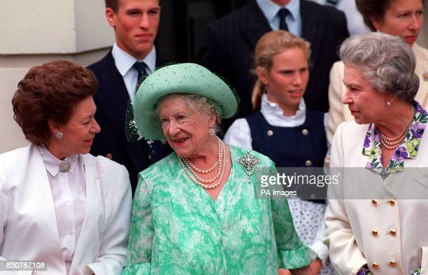 The Queen Mother is joined by the Queen and Princess Margaret outside Clarence House on her 93rd birthday * 15/02/02 The Queen Mother with Princess...